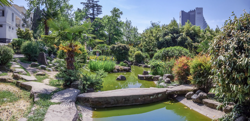 SOCHI, RUSSIA - MAY 4, 2018: Pond in Garden of Russian-Japanese